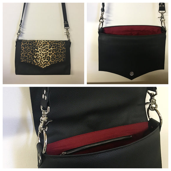 PRE-ORDER! Saddle Bag - Pebble Black Vinyl  / Leopard Fabric - Sangria Red Lining