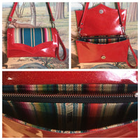 Clutch / Shoulder Bag - Cherry Red Glitter Vinyl / Teal Serape Print