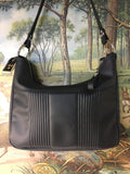 Hobo Shoulder Bag with Mercury Pleating - Satin Black with Pebble Black / Aztec Print Lining