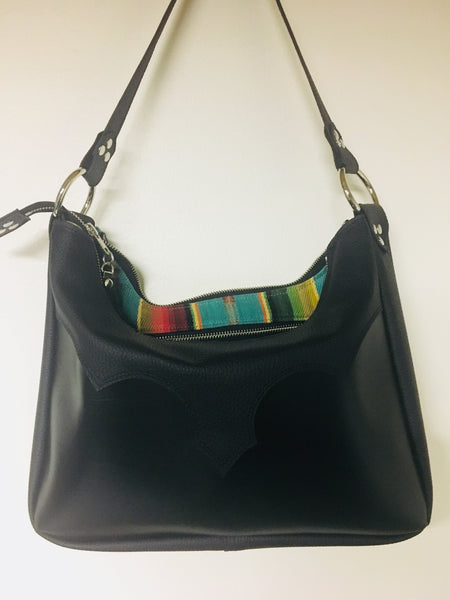 Death Valley Hobo Shoulder Bag - Black Two Tone Vinyl / Turquoise Serape Print Lining