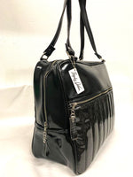 Fairlane Overnight Bag - Coal Black Glitter Vinyl / Grease Black - Leopard Lining