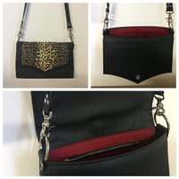 Saddle Bag - Pebble Black Vinyl  / Leopard Fabric - Sangria Red Lining