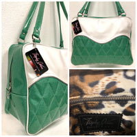 In Stock! Diamond Tuck and Roll Overnight Bag - Sea Foam Green Glitter / Pearl White - Leopard Lining