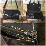 Clutch / Shoulder Bag With Mercury Pleating - Coal Glitter and Pebble Black Vinyl / Leopard Print Lining