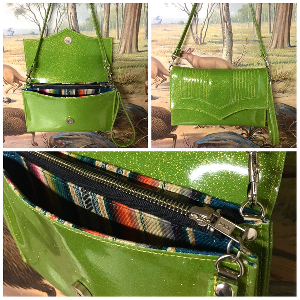Clutch / Shoulder Bag - Lime Green /  Serape Lining