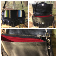 Clutch / Shoulder Bag - Black Distress Leather with Black Serape Print / Red Lining