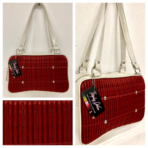 Galaxy Tote - Red '66 Ford Fabric / White Glitter - Leopard Lining