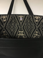 Open Tote with Mercury Style Pleating - Pebble Black Vinyl / Aztec Print Lining