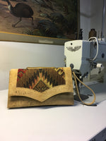Clutch Bag - Southwest Print / Natural Cork - Sangria Red Lining