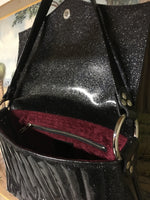 Saddle Bag with Firebird Pleating - Coal Black Glitter Vinyl with Spiced Wine Lining