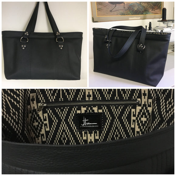 "Open Tote with Mercury Style Pleating in Limited Edition Pebble Black Vinyl Lined with Aztec Print Lining. Measuring 15"" across bottom (19"" across top) x 10"" x 5"" (38 cm At Bottom / 48.25 cm At Top x 25.5 cm Tall x 12.5 cm Wide) and 24"" (61cm) Straps. An open divided pocket and zipper pocket with hidden serial number and signature J.T. Christensen Label."