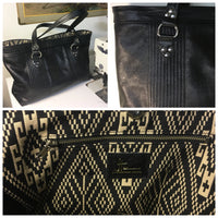 Open Tote with Mercury Style Pleating - Black Distressed Leather / Aztec Print Lining