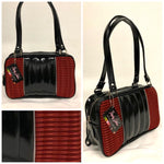Roadster Tote Bag - Red '66 Ford Fabric / Grease Black - Leopard Lining