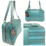 Roadster Tote - Turquoise '65 Chevy / Vintage Turquoise Vinyl - Leopard Lining
