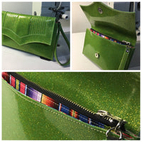 Clutch Bag With Mercury Pleating - Lime Green Glitter / Fiesta Print Lining