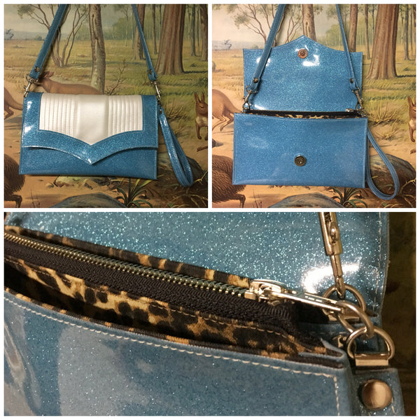 Clutch / Shoulder Bag With Mercury Pleating - Sky Blue and Pearl Vinyl / Leopard Print Lining