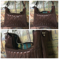 Hobo Shoulder Bag with Firebird Pleating - Root Beer Brown Glitter / Turquoise Serape Print Lining
