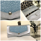 Large Wallet - Vintage Blue Oldsmobile / Chrome Glittler - Gray Leopard Lining