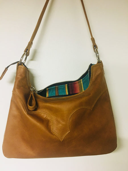 Death Valley Shoulder Bag - Cognac Leather / Turquoise Serape Print Lining