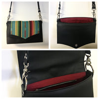 PRE-ORDER! Saddle Bag - Pebble Black Vinyl  / Turquoise Serape Fabric - Sangria Red Lining