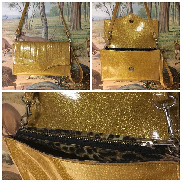 Clutch / Shoulder Bag With Mercury Pleating - Gold Glitter Vinyl / Leopard Print Lining