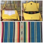 Clutch / Shoulder Bag With Mercury Style Pleating - Lemonade and Pearl Vinyl / Teal Serape Lining