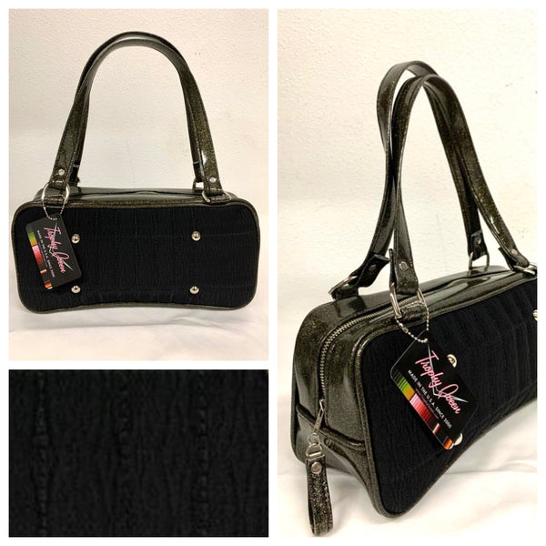 Galaxy Shoulder Bag - Black '71 Pontiac Fabric / Black Gold Glitter Vinyl - Leopard Lining