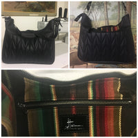 PRE-ORDER! Hobo Shoulder Bag with Firebird Pleating - Satin Black with Pebble Black / Chocolate Serape Lining