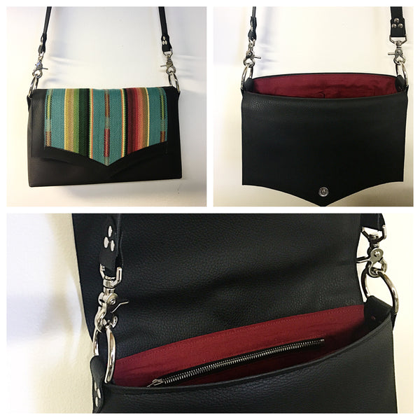 Saddle Bag - Pebble Black Vinyl  / Turquoise Serape Fabric - Sangria Red Lining