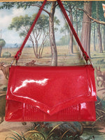 Saddle Bag with Mercury Pleating - Fire Ball Red / Aztec Print Lining