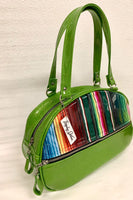 Lucky Strike Bowling Style Bag - Mexican Blanket / Lime Green Glitter Vinyl - Leopard Lining