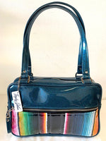 Fairlane Tote Bag - Mexican Blanket with Clear Overlay / Teal Glitter Vinyl - Leopard Lining