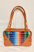 Comet Tote Bag - Mexican Blanket with Clear Overlay / Tangerine Glitter Vinyl - Leopard Lining