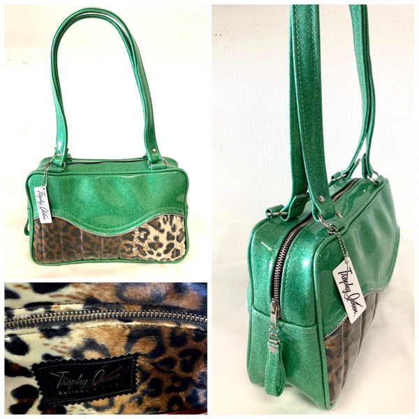 In Stock! Tuck & Roll Tote Bag - Leopard / Sea Foam Green