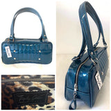 In Stock! Galaxy Shoulder Bag - Teal Glitter Vinyl / Leopard Lining