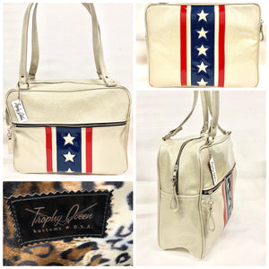 "Evel Knievel GTO Business Bag with plush leopard lining, 29"" straps with nickel hardware and comes with extra replacement straps! Inside has an open divided pocket and zipper pocket with hidden serial number. Tote comes with vinyl zipper pull, nickel fee and signature Trophy Queen label. Made with love in California."