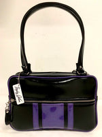 GTO Tote Bag - Grease Black Vinyl with Beatnik Purple Glitter Stripes- Leopard Lining