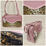 Tuck and Roll Tote Bag - Leopard with Clear Overlay / Blush Pink Glitter Vinyl - Leopard Lining