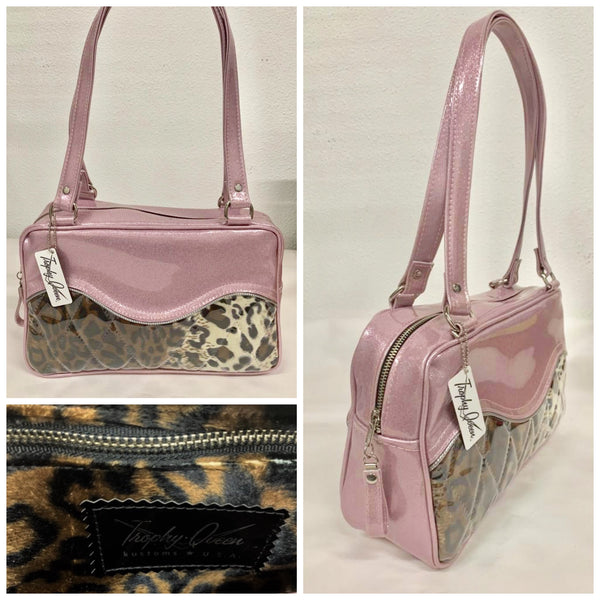 Diamond Pleat Tuck and Roll Tote Bag - Leopard with Clear Overlay / Blush Pink Glitter Vinyl - Leopard Lining