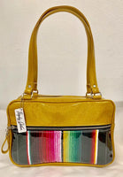 Fairlane Tote Bag - Mexican Blanket with Clear Overlay / Marigold Glitter Vinyl - Leopard Lining