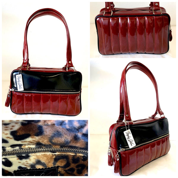 In Stock! Fairlane Tote Bag - Red Glitter Vinyl / Grease Black Vinyl - Leopard Lining