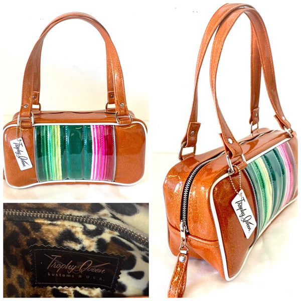 In Stock! Roadster Shoulder Bag - Mexican Blanket with Clear Overlay / Tangerine - Leopard Lining