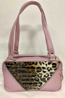 Comet Tote Bag - Leopard with Clear Overlay / Blush Pink Glitter Vinyl - Leopard Lining