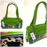 Tuck and Roll Shoulder Bag - Mexican Blanket with / Lime Green Glitter - Leo Lining