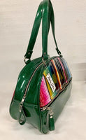 Lucky Strike Bowling Style Bag - Mexican Blanket / Dark Green Glitter Vinyl - Leopard Lining