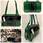 GTO Tote Bag - Green Glitter Vinyl / Grease Black Vinyl Stripes and Piping - Leopard Lining