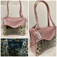 Tuck and Roll Business Bag - Leopard with Clear / Blush Pink Glitter- Leopard Lining