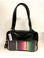 Fairlane Tote Bag - Mexican Blanket with Clear Overlay / Grease Black Vinyl - Leopard Lining