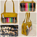 In Stock! Fairlane Tote Bag - Mexican Blanket with Clear Overlay / Marigold Glitter Vinyl - Leopard Lining