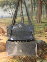 Clutch / Shoulder Bag With Mercury Pleating - Steel Gray Glitter Vinyl /  Leopard Print Lining